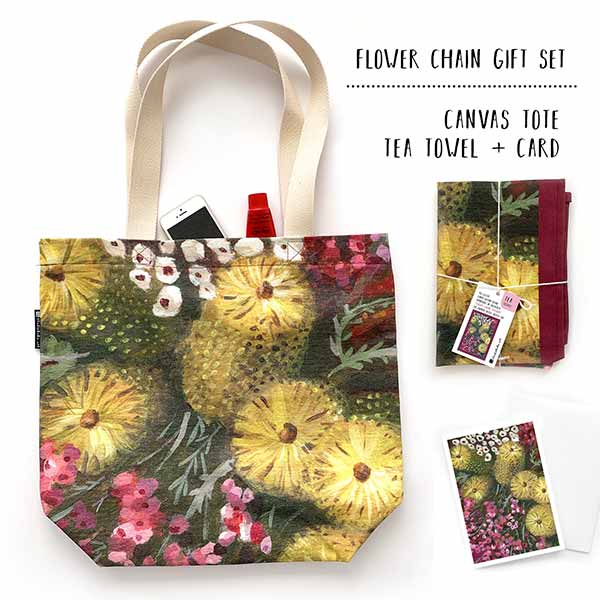 Australian floral tote and teatowel gift set