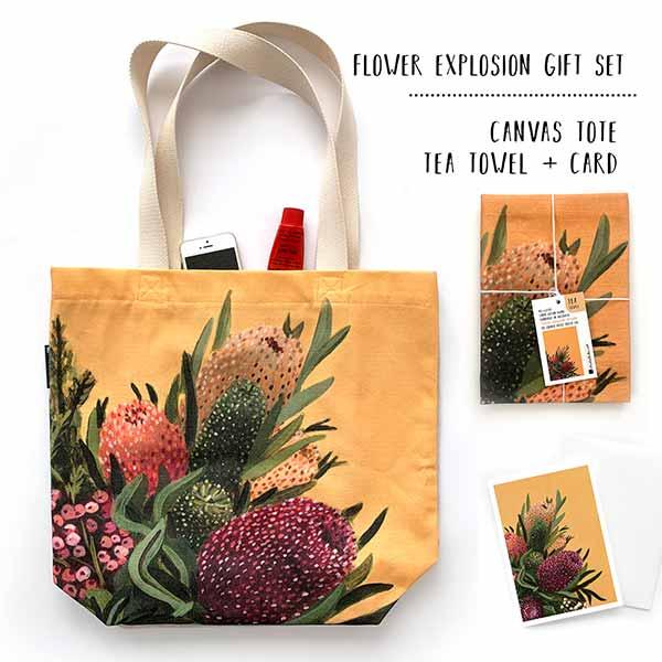 banksia tote and teatowel gift set