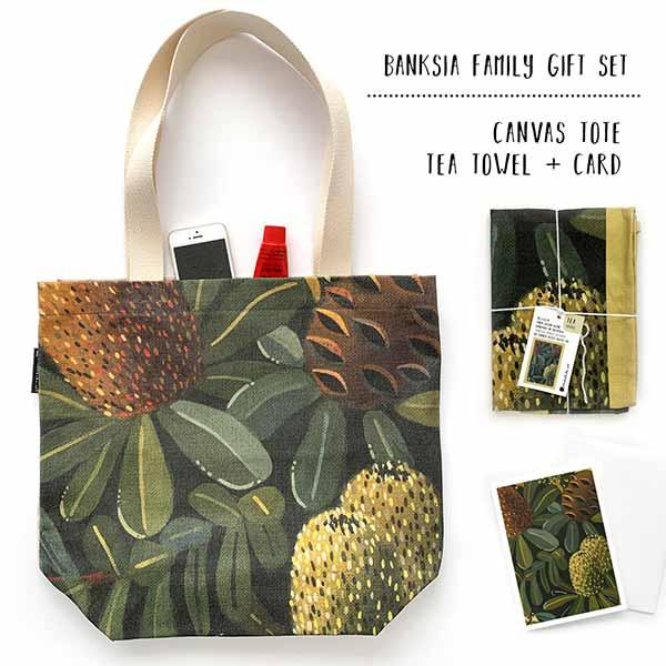 banksia tote and tea towel gift set