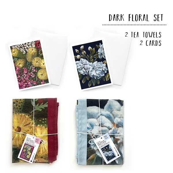 dark floral tea towel set
