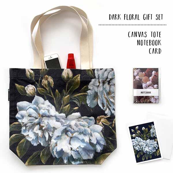 dark floral tote gift set