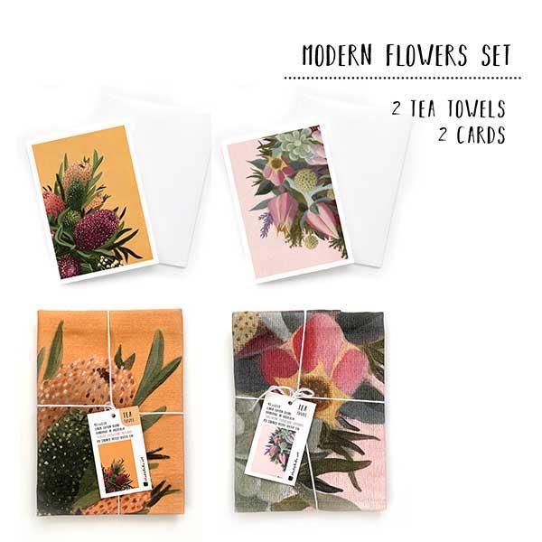 modern floral tea towel set