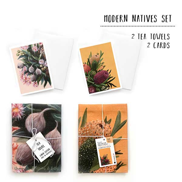 modern native flowers tea towel set