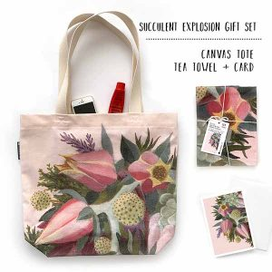 pink succulent flower teatowel and tote gift set