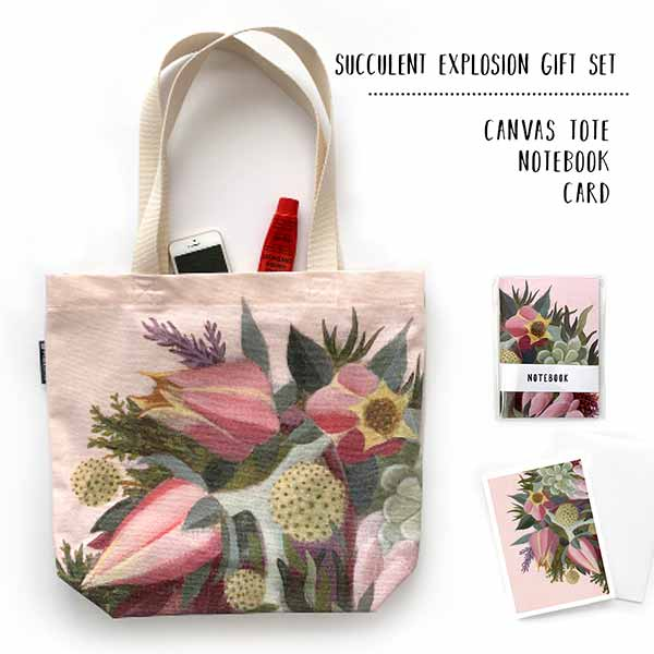 pink succulent tote gift set