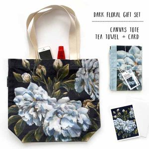 rose botanical tote teatowel gift pack