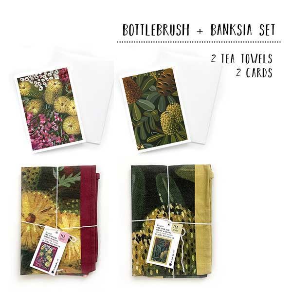 bottlebrush banksia tea towel set