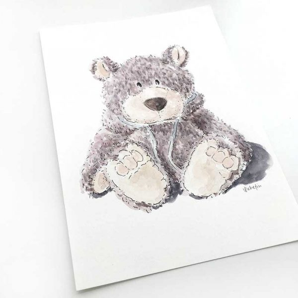 grey bear watercolour