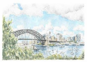 sydney harbour skyline painting