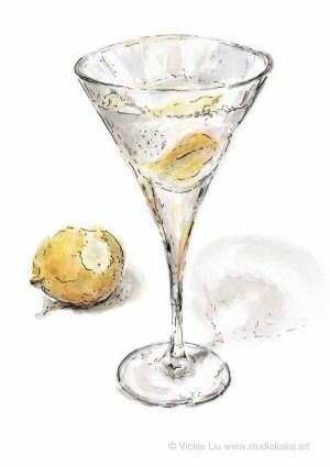 vodka martini cocktail painting