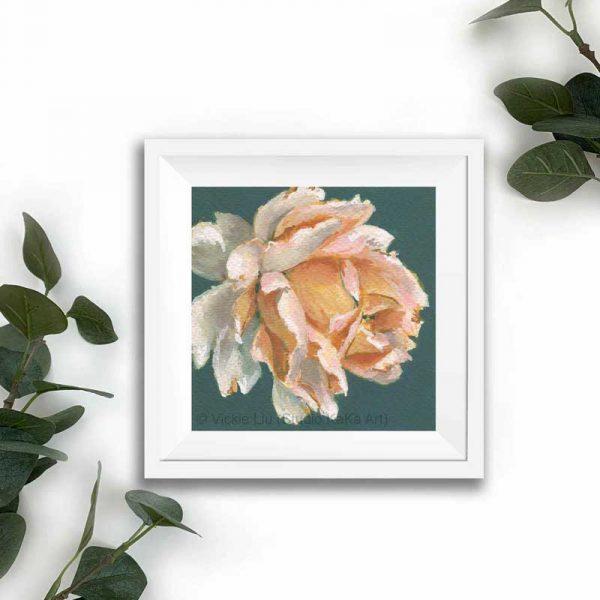 Amber floral print white frame