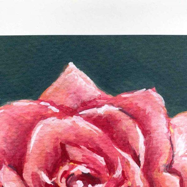dark pink botanical art print detail