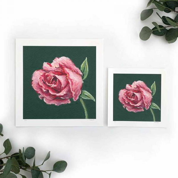 Dark Pink Floral Art Print Sizes