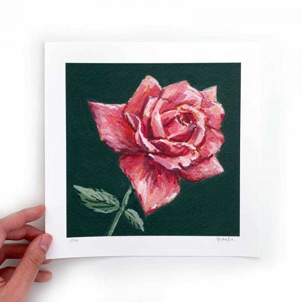 dark pink flower art print