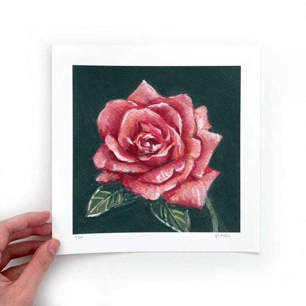 dark pink flower art print