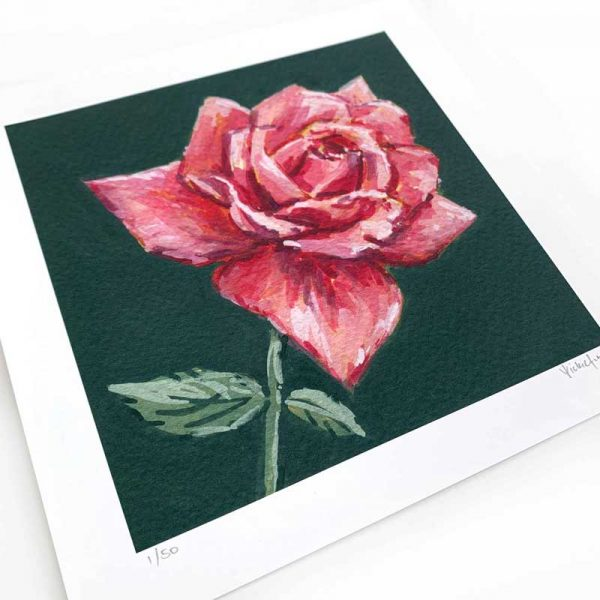 dark pink rose painting print