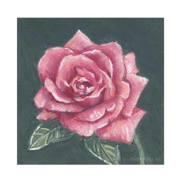 Dark Pink Rose Print No.2