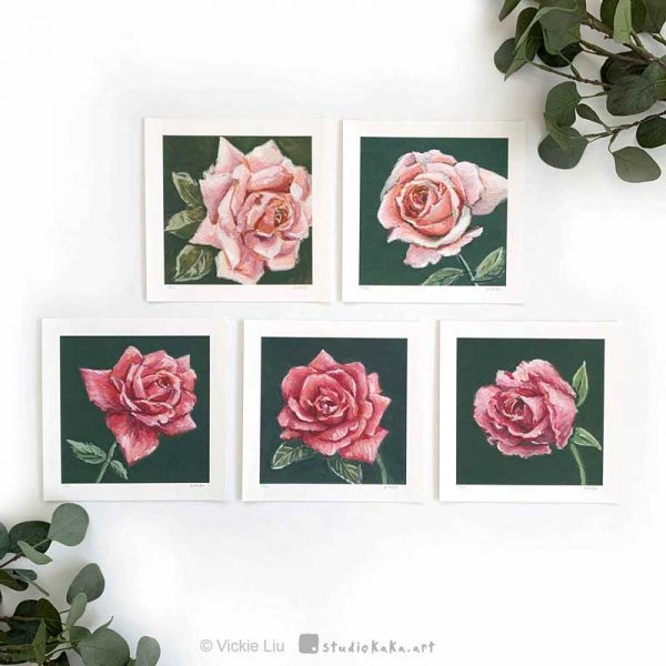 limited edition print pink roses