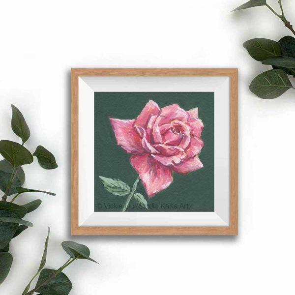 magenta floral print frame