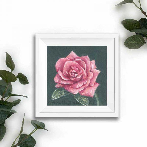 magenta floral print frame mockup
