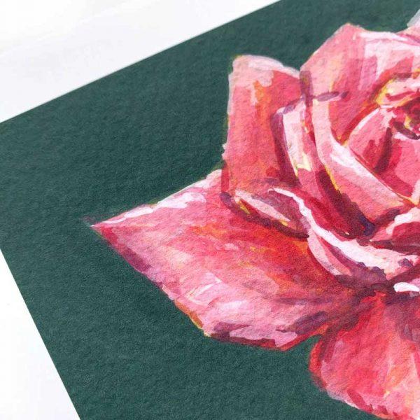 magenta rose giclee print detail