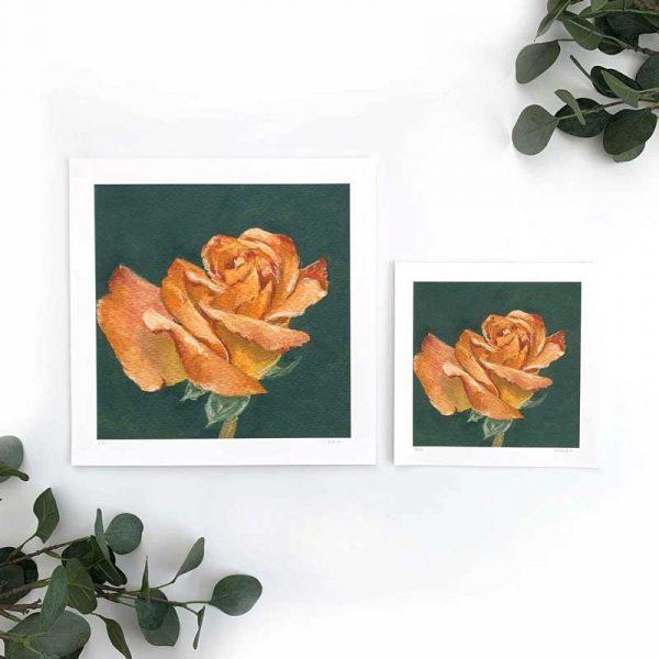 Orange Floral Art Print Sizes