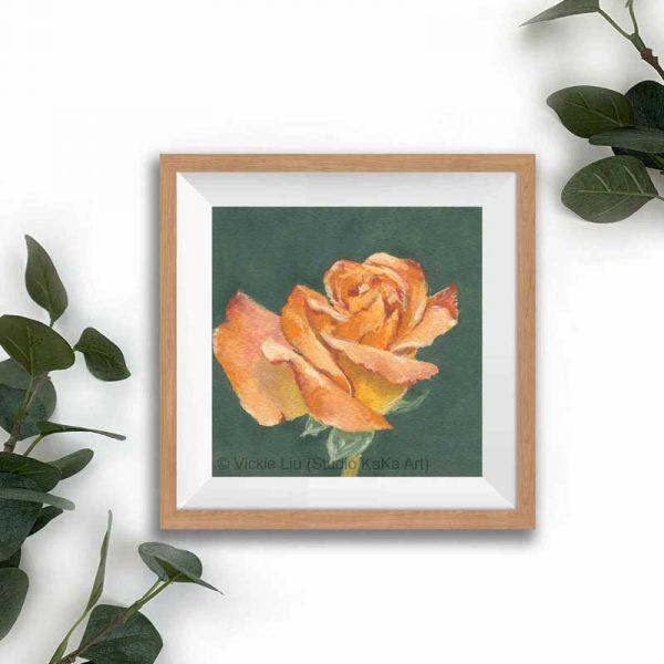orange floral print frame mockup