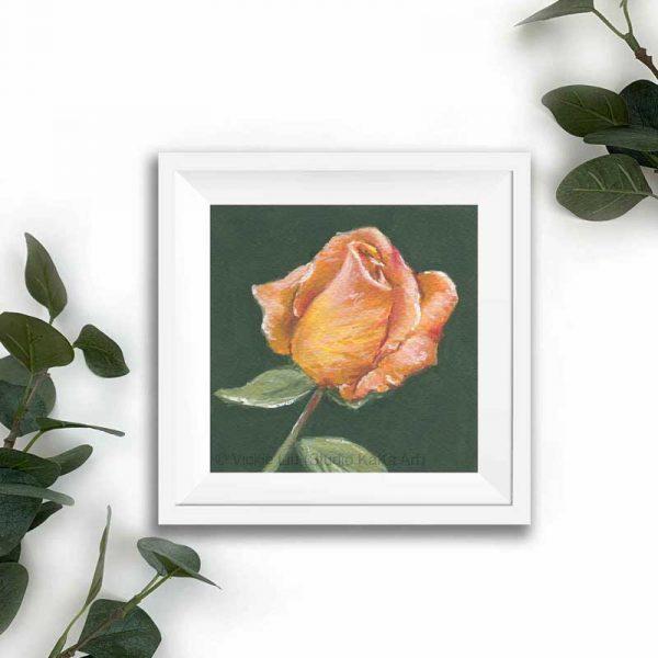 orange floral print white frame mockup