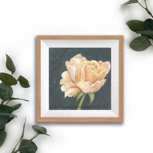 peach floral print frame mockup