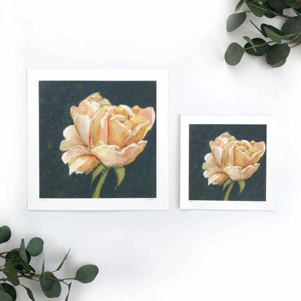 Peach flower art print sizes