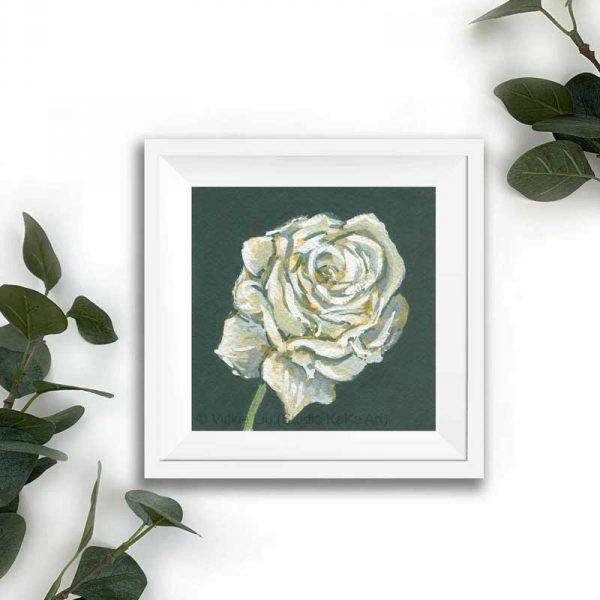 white floral print frame mockup