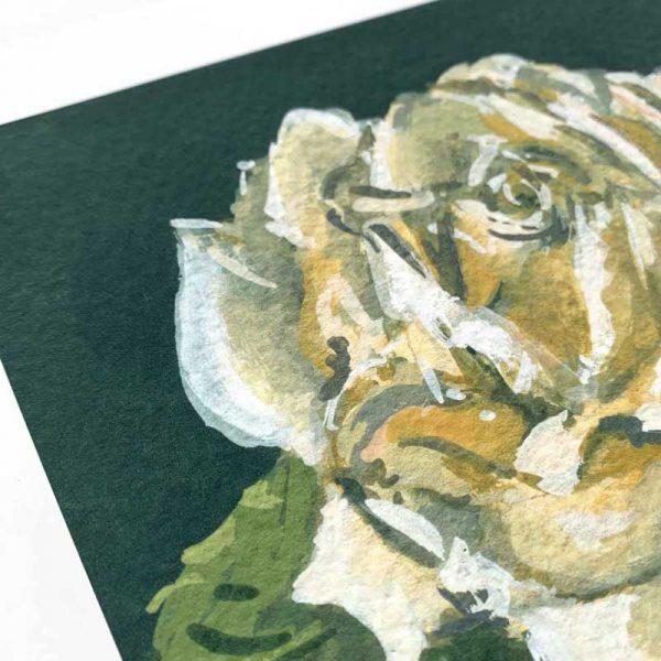 white rose giclee print detail