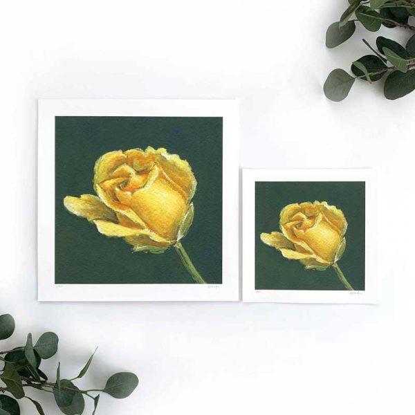 yellow floral art print sizes