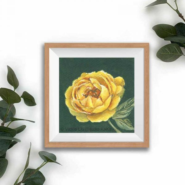 yellow floral print frame mockup