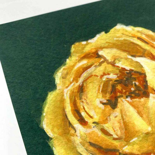 yellow rose giclee art print detail