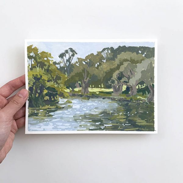 by the duck pond landscape original painting
