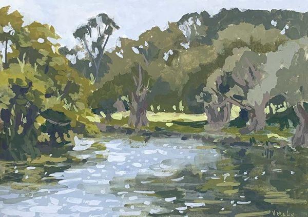 by the duck pond landscape artwork