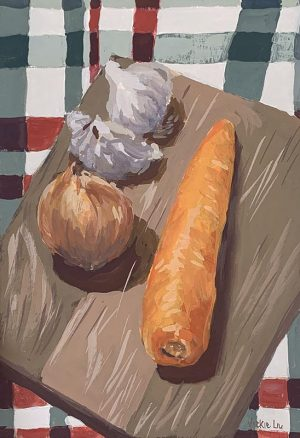 classic kitchen ingredients still life painting