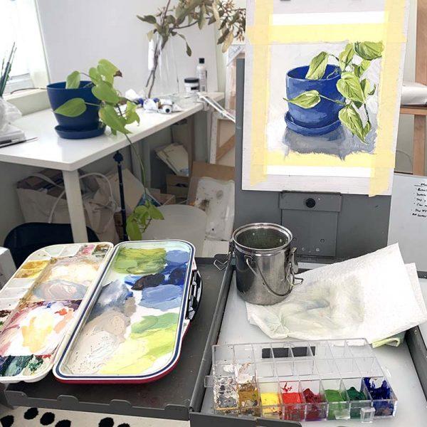 devils ivy plant painting studio
