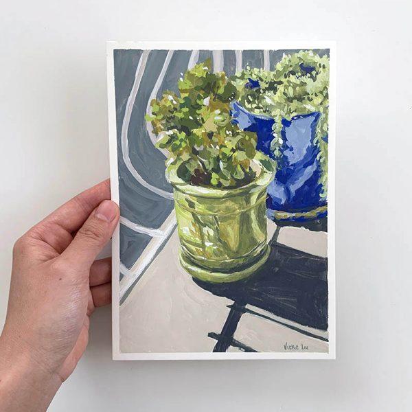 green succulent original artwork