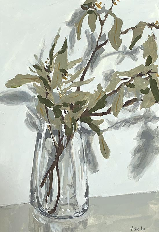 gum tree branch still life painting