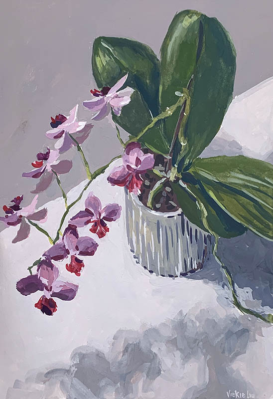 orchid blooms still life painting