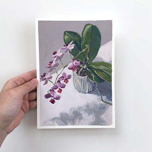 orchid blooms original artwork