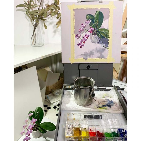orchid blooms still life painting setup