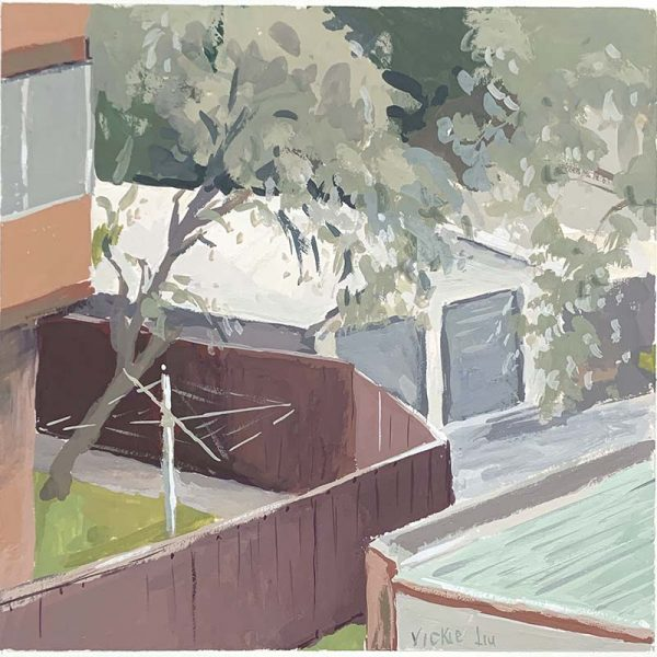 urban backyard original painting
