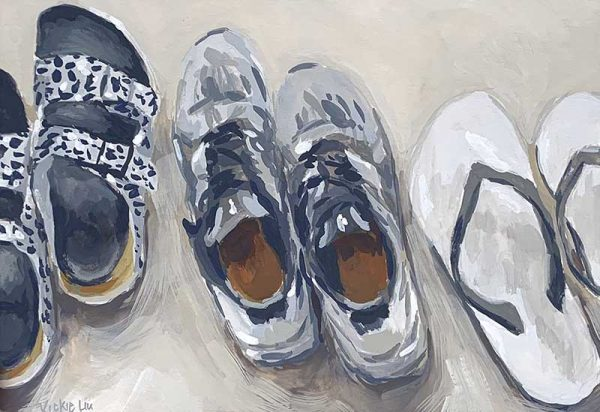 shoe line up still life painting