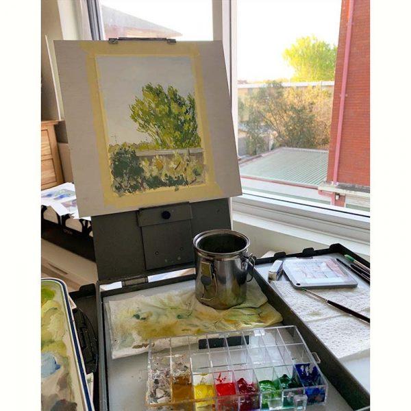 vibrant afternoon landscape painting setup