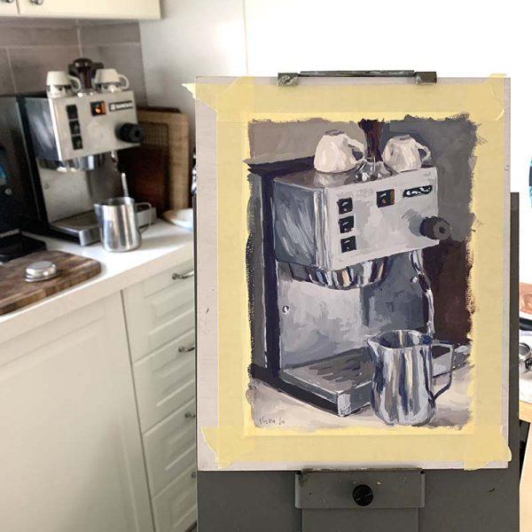 Coffee machine painting still life