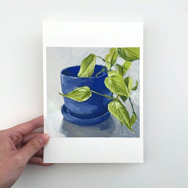 devils ivy plant original painting