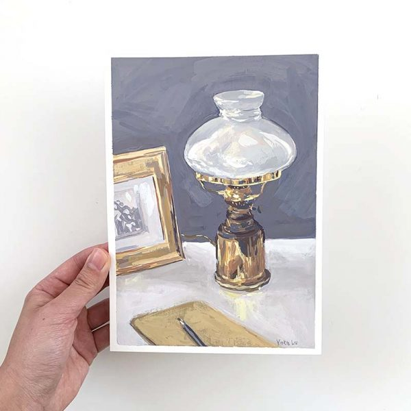 antique brass lamp original artwork